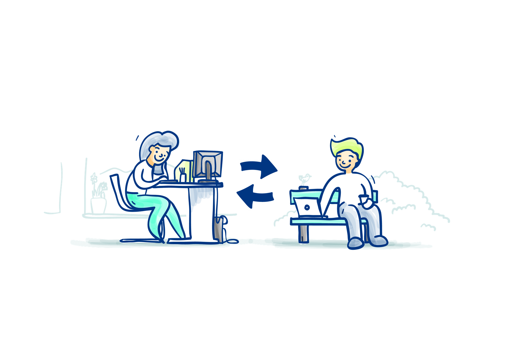illustration of people using computers to connect with each other